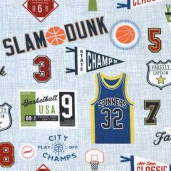 Riley Blake Varsity Basketball Main Blue main