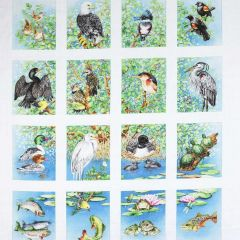 Elizabeth's Studio Freshwater Wildlife Blocks Panel - Cream main
