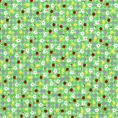 Midwest Textiles Vintage Miniatures Floral Check - Green main
