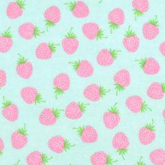 Riley Blake Butterflies & Berries Flannel Strawberries - Mint