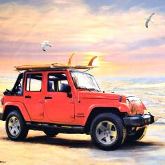 Riley Blake Jeep In The Wild Jeep Panel - Red main