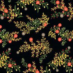 Camelot Gosford Park Wild Floral Sprigs - Black