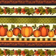 Benartex Harvest Berry Harvest Pumpkin Stripe - Cream/Multi main