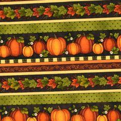 Benartex Harvest Berry Harvest Pumpkin Stripe - Black/Multi main