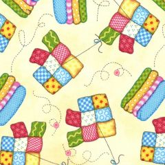 Henry Glass Sew Let's Stitch Quilt and Fabric - Butter main