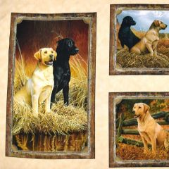 Quilting Treasures Loyal Loveable Labs Labrador Picture Patch Panel  - Cream main