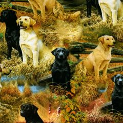 Quilting Treasures Loyal Loveable Labs Labrador Scenic - Multi main