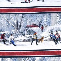 Northcott Hometown Hockey Digital Border Print - Navy main