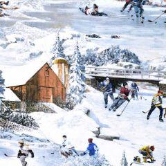 Northcott Hometown Hockey Digital Scenic Print - Blue main