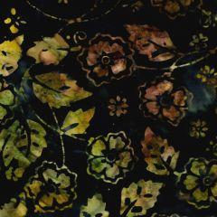 Northcott Banyan Batiks - Jungle Rose Floral Vines - Black/Green main