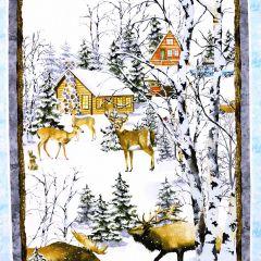 Henry Glass Snowy Woods Scenic Panel - Multi main