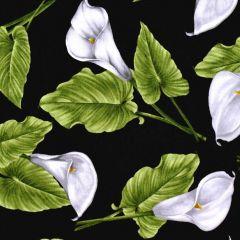 Benartex Magnificent Blooms  Calla Lily - Black/Multi main