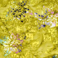 Northcott Banyan Batiks - Patio - Primrose Squares and Flowers - Gold main