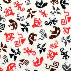 Kanvas Totem Flannel Spirt Symbols Cream Red