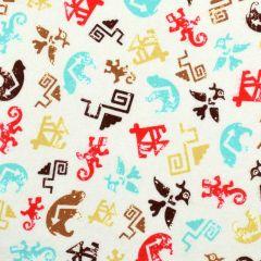 Kanvas Totem Flannel Spirit Symbols Cream/Turquoise