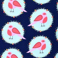 Michael Miller Front Yard Flower Bird - Blueberry main