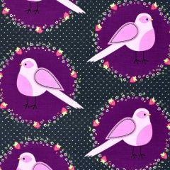 Michael Miller Front Yard Flower Bird - Blackberry main